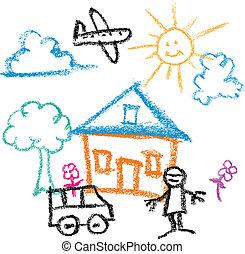 bambini, disegnare