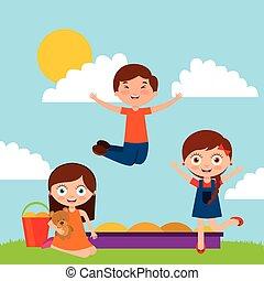 bambini, disegno, cartone animato