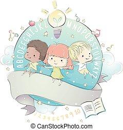 bambini, disegno, educazione, nastro