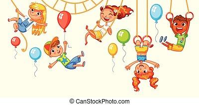 bambini, divertirsi, su, il, rides., divertimento, park., campo di gioco