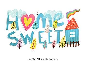 bambini, dolce, segno, illustrato, casa, cartone animato