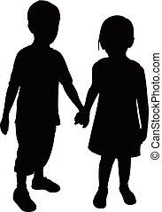 bambini, due, silhouette