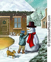 bambini, e, pupazzo di neve
