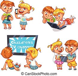 bambini, e, tecnico, progress., divertente, cartone animato, carattere