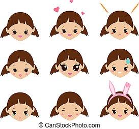 bambini, emoji., carino, ragazza, facce, con, emotions., vettore, umore, icone