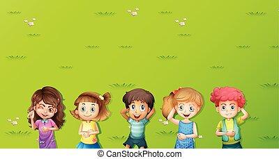 bambini, erba, scena, fondo