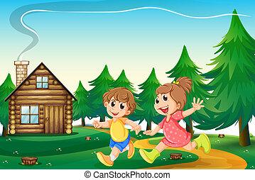 bambini, eseguendo fuori, il, casa legno, a, il, cima colle