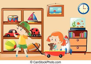 bambini, eseguendo giocattoli, in, il, stanza