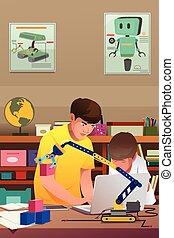 bambini, esperimento, robotic