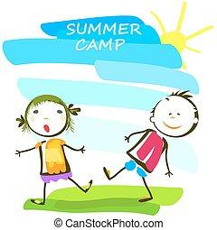 bambini estate, campeggiare, felice, manifesto