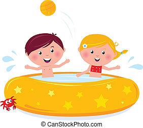 bambini estate, stagno, illustrazione, vector., sorridente, nuoto, cartone animato, felice