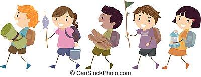 bambini estate, stickman, campeggiare, illustrazione, passeggiata