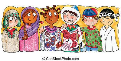 bambini, etnico, nazionalità