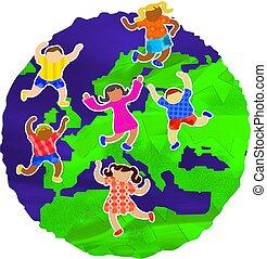 bambini, europeo