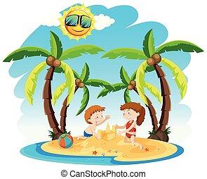 bambini, fabbricazione, sandcastles, su, un, isola