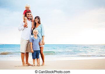 bambini, famiglia felice, giovane