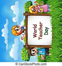 bambini, felice, segno, giorno, insegnante