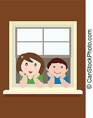 bambini, finestra