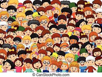 bambini, folla, cartone animato