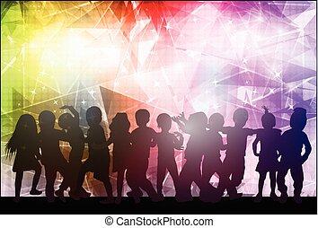 bambini, fondo, ballo