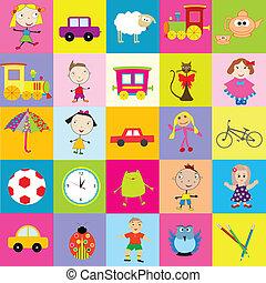 bambini, fondo, giocattoli
