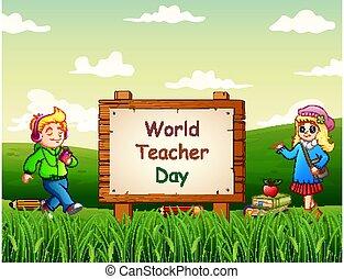 bambini, fondo, natura, felice, giorno, insegnante