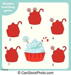 bambini, game., anno, adattamento, cremoso, tema, attività, nuovo, uggia, natale, cupcake.