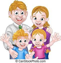 bambini, genitori, cartone animato