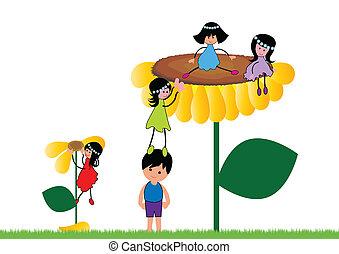 bambini, giardino, felice