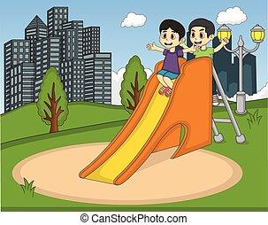 bambini giocando, diapositiva, a, il, parco