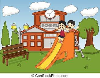 bambini giocando, diapositiva, su, il, schoo