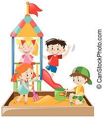 bambini giocando, in, il, sandbox