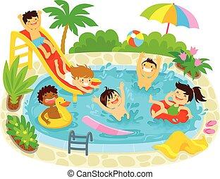 bambini, giocando piscina, nuoto