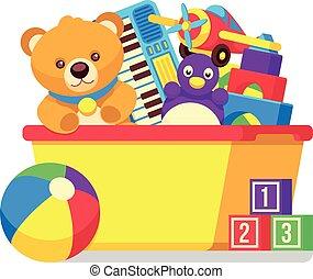 bambini, giocattoli, scatola, vettore, clipart