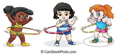 bambini, gioco, con, il, hulahoop
