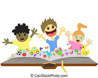 bambini, gioco, davanti, libro