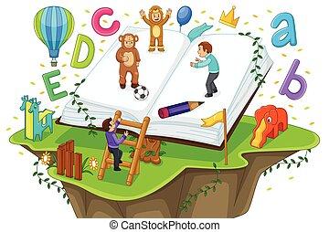 bambini, gioco, e, lettura