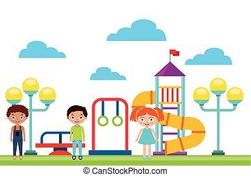 bambini, gioco, felice