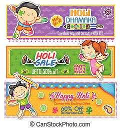 bambini, gioco, holi, con, colorare, e, pichkari