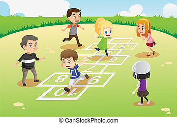 bambini, gioco, hopscotch