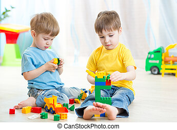 bambini, gioco, in, bambini, stanza, nido d'infanzia