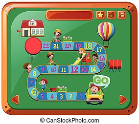 bambini, gioco, sagoma, boardgame