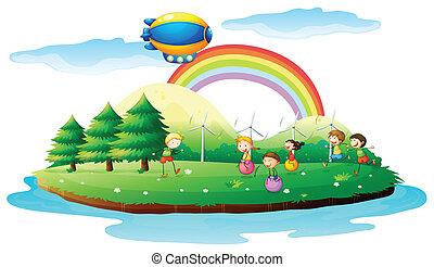bambini, gioco, suolo