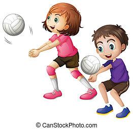 bambini, gioco volleyball