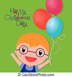 bambini, giorno, felice