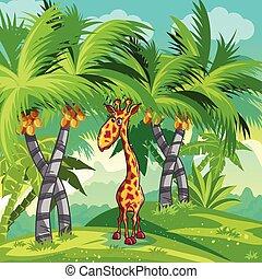 bambini, giraffe., giungla, illustrazione