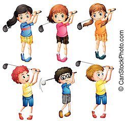 bambini, golf, gioco