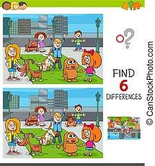 bambini, gruppo, differenze, trovare, gioco, cani