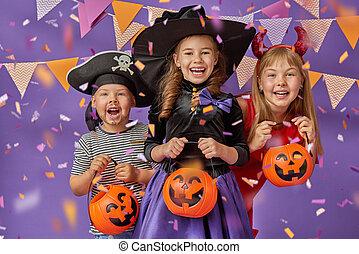 bambini, halloween