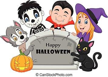 bambini, halloween, lapide, costume, presa a terra, cartone animato